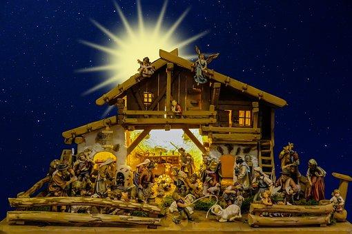 Christmas, Nativity Scene, Crib, Father Christmas