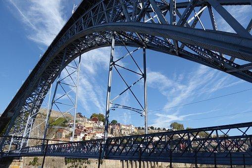 Porto, Ponte Luiz I, Bridge, Sky, Eiffel, Architecture