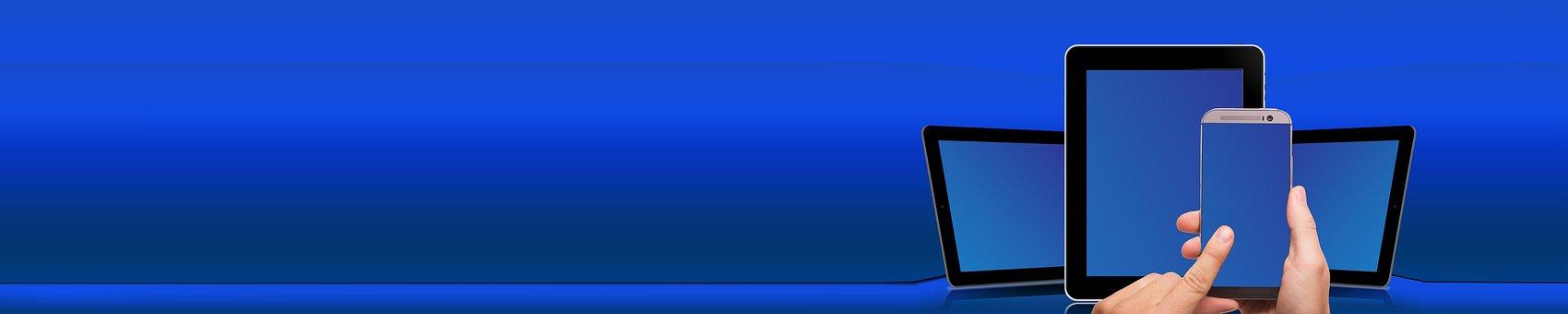 Computer, Smartphone, Online, Digital, Banner, Header