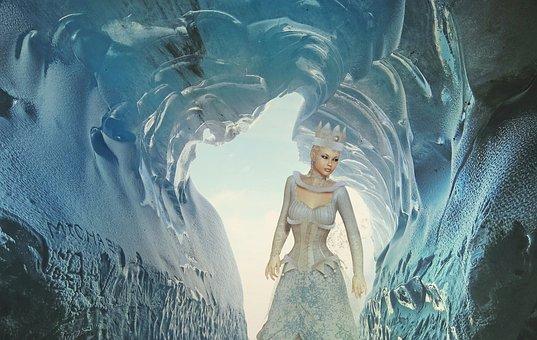Fantasy, Snow, Snow Queen, Cave, Woman, Cold, Artistic