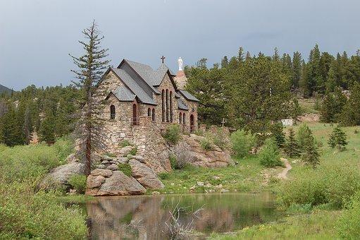 Church, Estes Park, Colorado, Stone, Chapel, St Malo