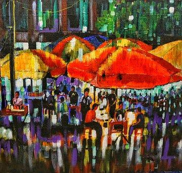 Art, Street, Scene, Yangon, Myanmar, City, Artistic