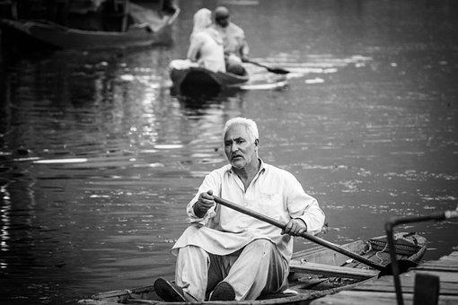 Scene, Water, Dal Lake, Black And White, Kashmir