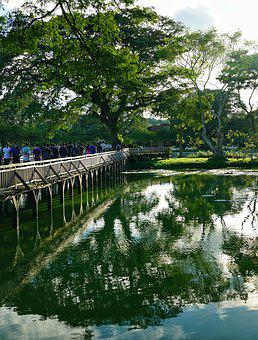 Lake, Bridge, Wooden, Reflection, Yangon, Myanmar