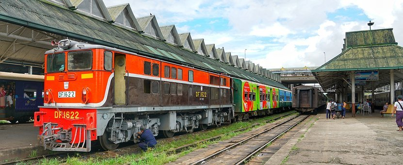 Train, Locomotive, Yangon, Station, Myanmar, Rail