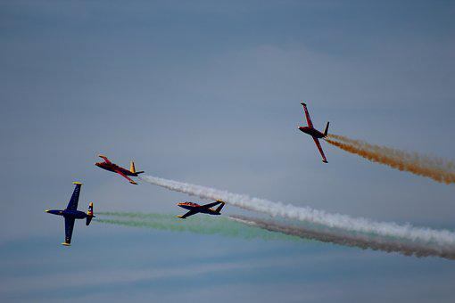 Airshow, Formation, Sky, Aviation, Air, Plane, Airplane