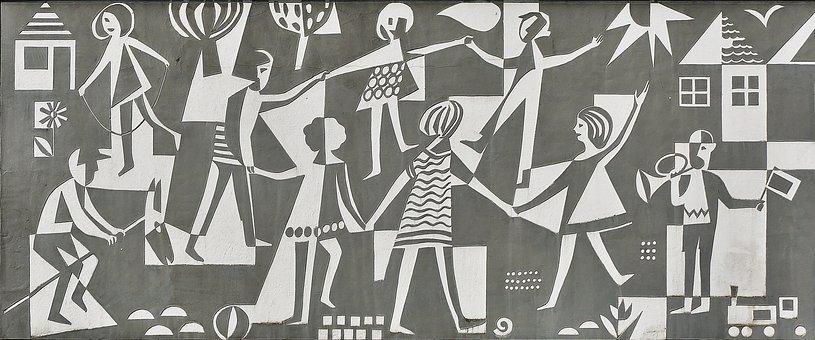 Facade, Hauswand, Painting, Children Playing, Children