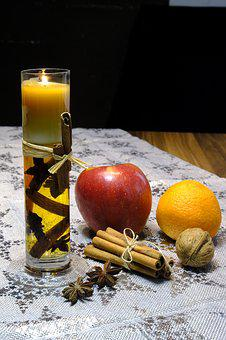 Apple, Orange, Cinnamon, Cinnamon Sticks, Anise