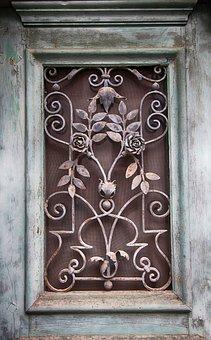 Window, Door Window, Section, Wrought Iron, Decorated