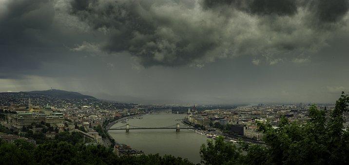 Budapest, Hungary, Panorama, Dark Clouds, Rainy Clouds