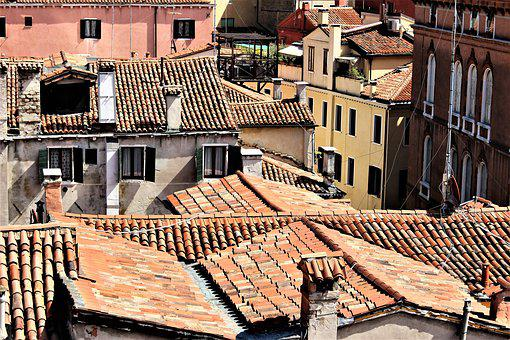 Venice, Italy, Architecture, Roof, Chimneys, Taknock