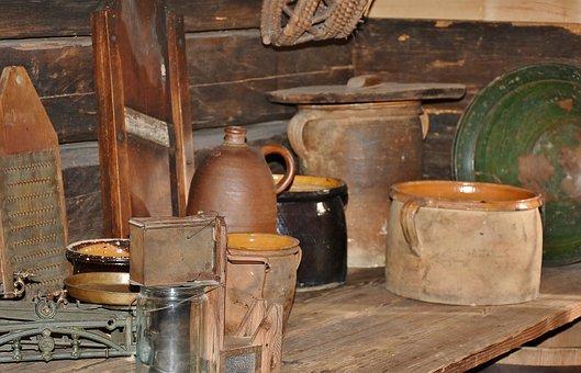 Tableware, Pots, Jugs, Jar, Planer, Sound, Burned, Old