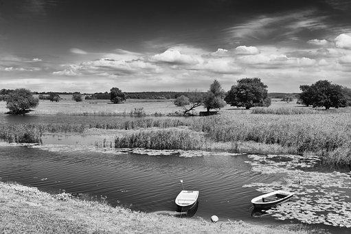 Landscape, Oderbruch, Nature, River, Black White, Water
