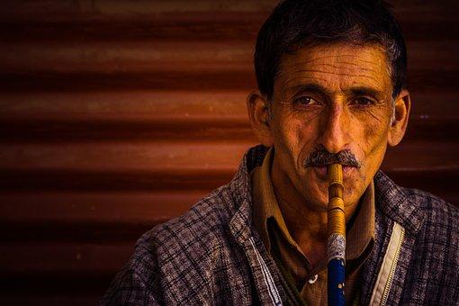 Portrait, Man, Man Smoking Hookah, Man Smoking, Kashmir