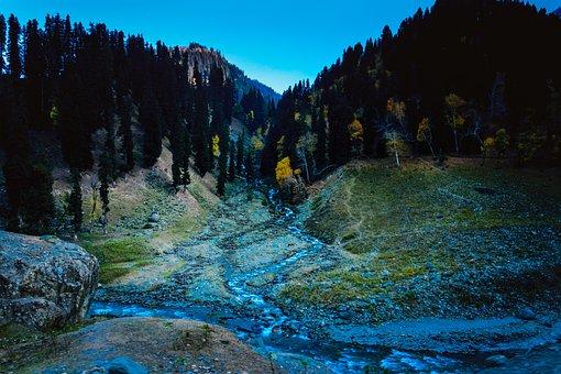 Mountains, Dark, Evening, Autumn
