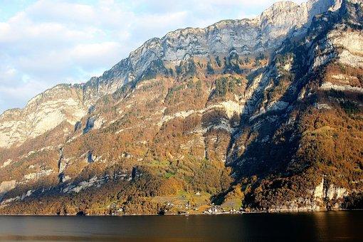 Top View, Autumn, Rocks, Lake, Morning, Penetration
