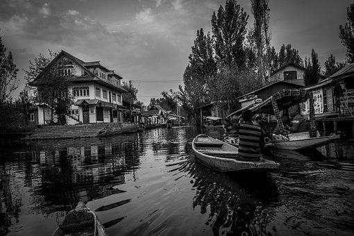 Scene, Water, Dal Lake, Wallpaper, Black And White