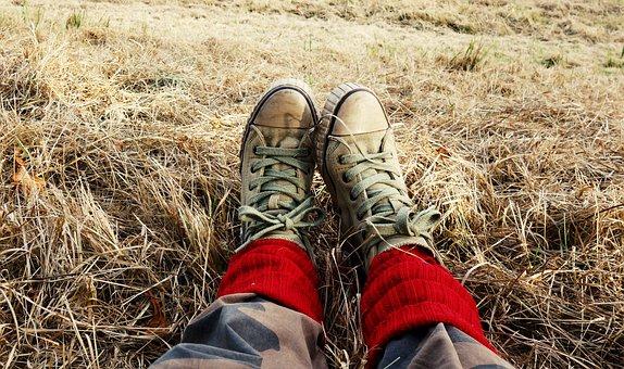 Legs, Feet, Woman, Shoes, Sneakers, Leg Warmer, Hay
