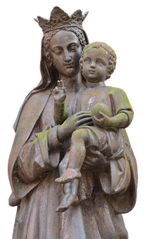 Maria, Child, Statue, Sculpture, Rock Carving, Art