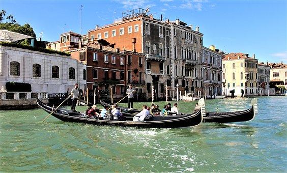 Venice, Italy, Gondolas, Gondola, Channel, Architecture