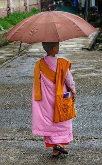 Young, Female, Girl, Monk, Buddhist, Buddhism, Yangon