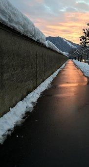 Sidewalk, Pavement, Abendstimmung, Evening Gold, Sunset