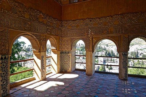Alhambra, Arches, Moorish, Decoration, Plasterwork