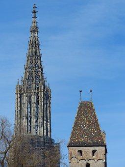 Münster, Ulm Cathedral, Tower, Steeple, Spire, Artwork