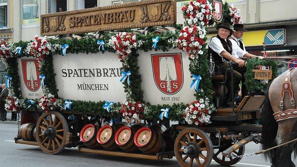 Beer Car, Pageant, Beer, Oktoberfest, Horses