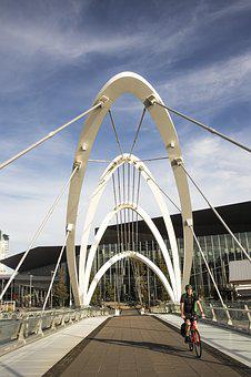 Melbourne, South Wharf, Bridge, Bicycle, Sky, Cityscape