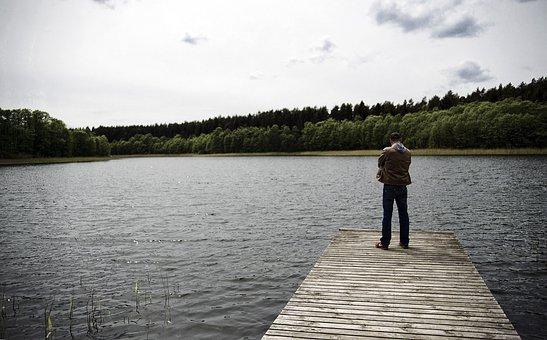 Lake, Water, Angler, Web, Jetty, Clouds, Wolkenspiel