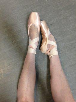 Ballet, Pointe, Feet, Satin, Ribbons, Pink, Girl, Legs
