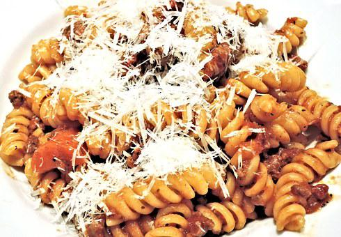 Fusilli Pasta, Ragu Meat Sauce, Cheese, Food