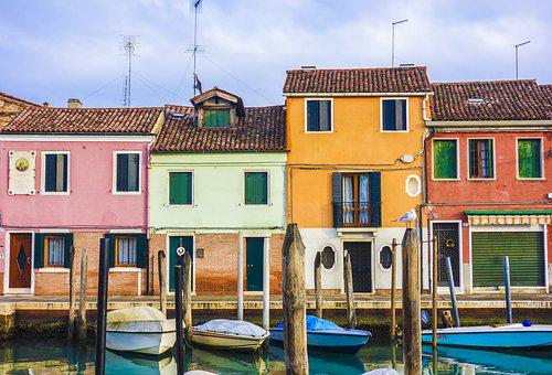 Colourful Houses, Homes, Boats, Venice, Murano, Window