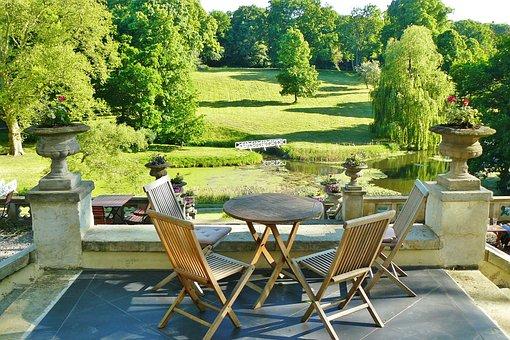 Castle Park, Hotel, Terrace, Park, Idyllic, Romantic