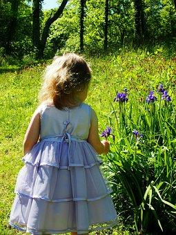 Little Girl, Purple Dress, Irises, Childhood, Happy