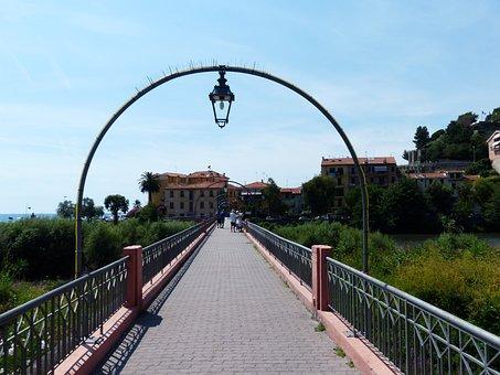 Bridge, Pedestrian Bridge, River, Roia, Lamp