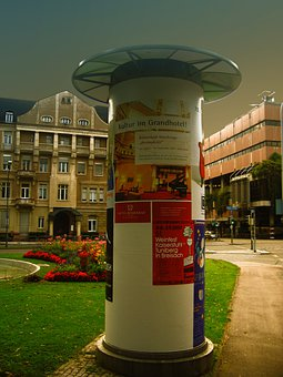 Wih, Advertising Pillar, Posters, Advertising, Litfaß