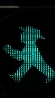 Little Green Man, Traffic Lights, Footbridge