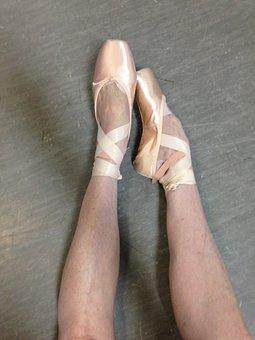 Ballet, Pointe, Feet, Satin, Ribbons, Pink, Girl, Legs