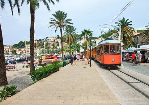 Mallorca, Port De Sóller, Promenade, Tram, Palm Trees