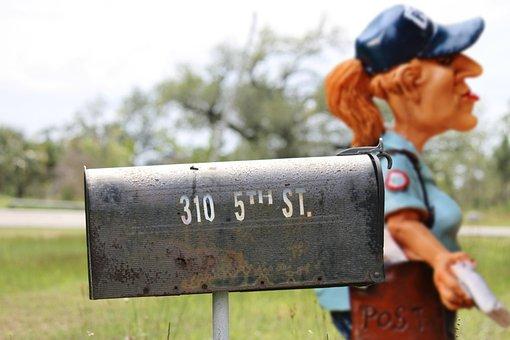 Mailwoman, Postman, Mailbox, Letters, Metal, Post