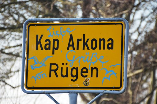 Rügen, Cape Arkona, Town Sign, Shield, Germany