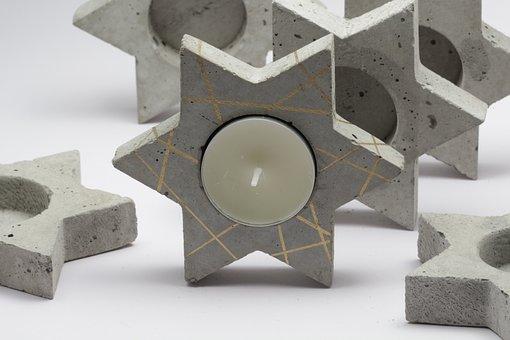 Candle, Tea Light, Tea Light Holder, Star, Concrete