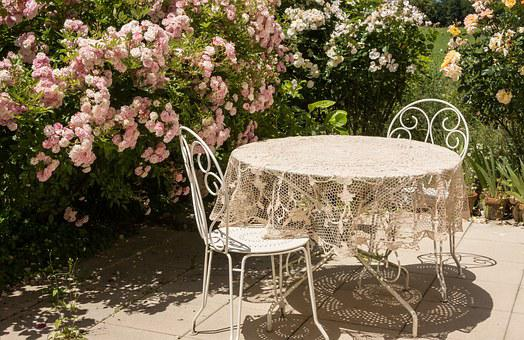 Table, Summer, Roses, Terrace, Chairs, Flowers, Sun