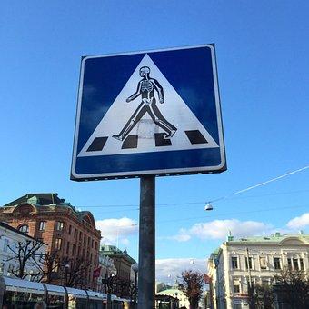 Pedestrian Crossing, Road Sign, Sticker, Traffic, Road