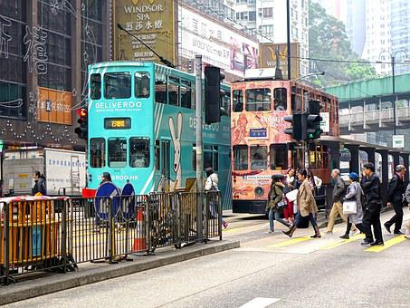 Hongkong, Ting Ting Car, Tram, Double Decker Tram, City