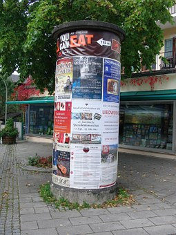 Advertising Pillar, Posters, Information, Notice, Wih