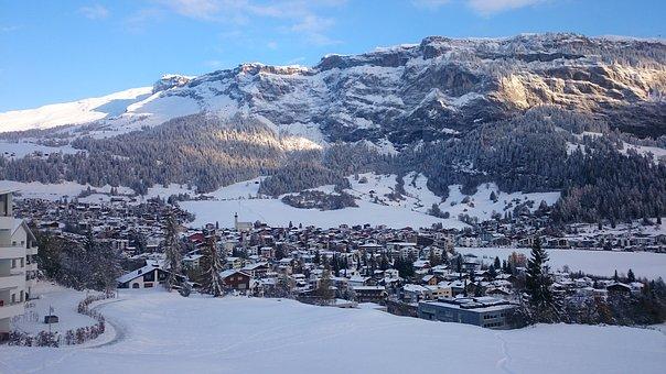 City, Alpine, Mountains, Winter, Snow, Sky, Magic