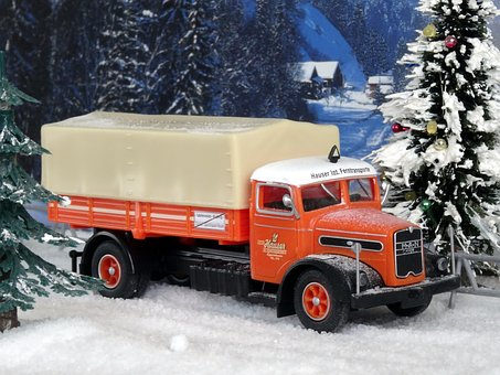 Truck, Christmas, Christmas Tree, Winter, Man F8